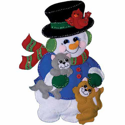 Tobin Snowman with Cats 13x18 Wall Hanging Felt Applique Kit