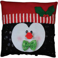 Tobin Penguin Button Pillow Felt Applique Kit - 15 X15