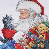 Tobin Santa and Kitten Counted Cross Stitch Kit