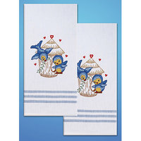 Design Works Crafts, Inc. Tobin Stamped Kitchen Towels For Embroidery-Bird