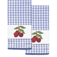 Tobin Stamped Kitchen Towels For Embroidery 16inX28in 2/PkgCherry