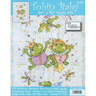 Tobin Frog Family 36x43 Quilt Stamped Cross Stitch Kit