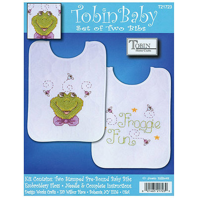 Tobin Frog Family Bib Pair Stamped Cross Stitch Kit-8 X10 Set Of 2