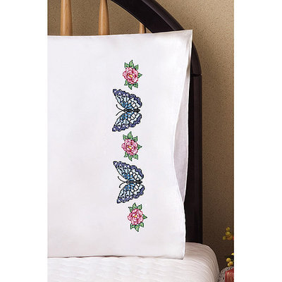 Tobin Stamped Pillowcase Pair 20inX30in For Embroidery-Butterfly Rose