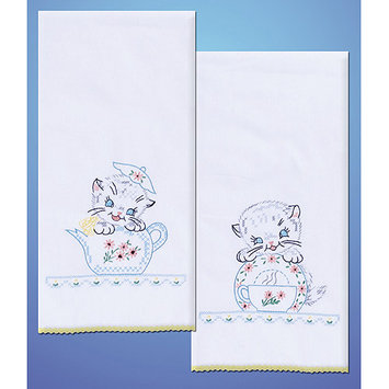 Design Works Crafts, Inc. Tobin Stamped Kitchen Towels For Embroidery-Kittens