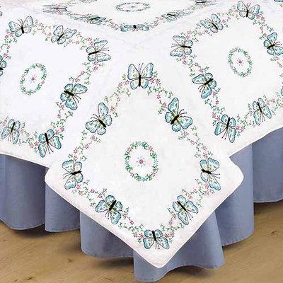 Tobin Stamped White Quilt Blocks 18 X18 6/Pkg - Aqua Butterfly