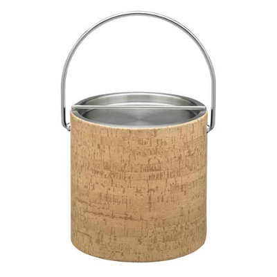 Natural Cork 3qt Ice Bucket with Metal Bar Cover