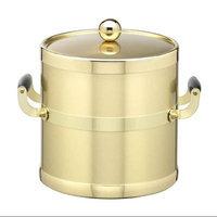 Brushed Brass 3qt Ice Bucket w/ Brass Lid & Wood Side Handles