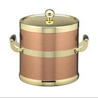 Copper & Brass 3qt Ice Bucket w/ Brass Lid & Wood Side Handles