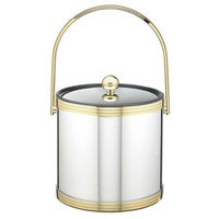 Mylar Polished Chrome & Brass 3qt Ice Bucket with Metal Cover