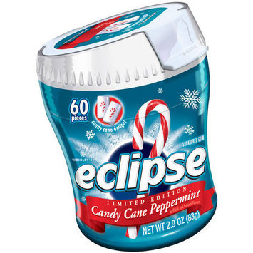 Eclipse Candy Cane Peppermint Sugarfree Gum, 60 count, 2.9 oz