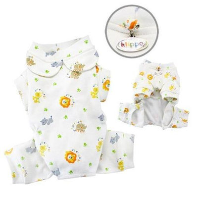 Klippo Pet, Inc Klippo Pet KBD059XS Knit Cotton Pajamas With Giraffe, Lion, Hippo & Elephant Pri