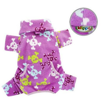 Klippo Pet, Inc Klippo Pet KBD063SZ Skulls & Crossbones Fleece Turtleneck Pajamas - Small