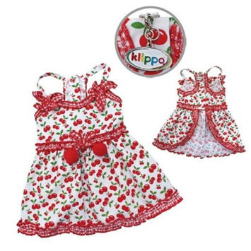 Klippo Pet, Inc Klippo Pet KDR055XS Sweet Cherries Sun Dress With D-Ring - Extra Small