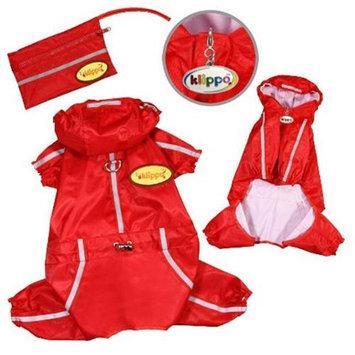 Klippo Pet, Inc Klippo Pet KJK058XS Raincoat Bodysuit With Reflective Stripes & Matching Pouch