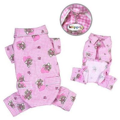 Klippo Pet, Inc Klippo Pet KBD065LZ Adorable Teddy Bear Love Flannel Pajamas, Pink - Large
