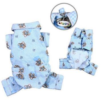 Klippo Pet, Inc Klippo Pet KBD066XS Adorable Teddy Bear Love Flannel Pajamas, Light Blue - Extra