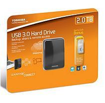 2.0TB Toshiba Canvio Connect Portable Hard Drive with 32GB USB 2.0 Flash Drive