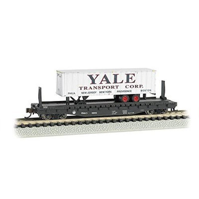Bachmann 526 Flat Car with 35 Ribbed Piggyback Trailer - ATLANTIC COAST LINE with YALE TRAILER - N Multi-Colored