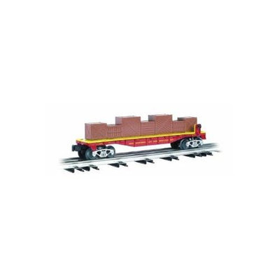 Bachmann-40' Flatcar w/Crate Load - 3-Rail - Ready to Run - Williams(TM) - Ring