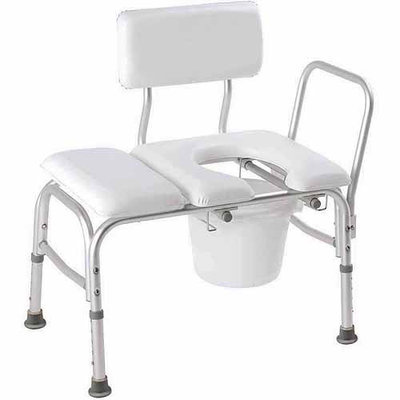 Carex Health Brands B15211 Vinyl Padded Tub Xferbench Withcutout And Commode Pail
