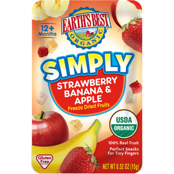 Hain Celestial Earth's Best Organic Simple Freeze Dried Strawberry, Banana & Apple Snack