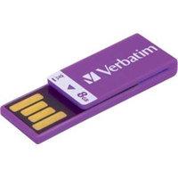 Verbatim 8GB Clip-it USB Flash Drive - Violet - 8GB - Violet - 1 Pack (43937)