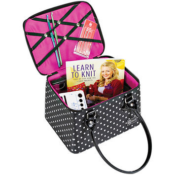 Creative Options Crafter's Tapered Tote-Black/Magenta/White W/Dots