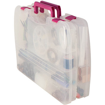 Creative Co Creative Options Pro Latch Connectable Satchel with 5 to 22 Compartments - Clear/Magenta