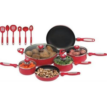 Maxam Chef's Secret 16pc Red Aluminum Cookware Set