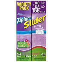 Ziploc Easy Zipper Slider Bags 156 ct mixed pack