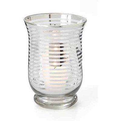 Teters Floral Products 4.25-inch x 4.25-inch x 6-inch Glass Hurricane with Silver Stripe (Pack of 6)