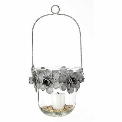 Teters Floral Products 7-inch x 13-inch Tin Flower and Glass Hanging Candle