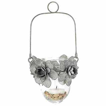 Teters Floral Products 5-inch x 9-inch Tin Flower and Glass Hanging Candle