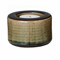 Teters Floral Products Green Ceramic Round Candle Holder (Pack of 6)