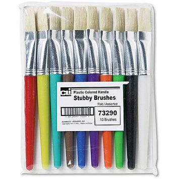 Charles Leonard 73290 Stubby Brush Set- Natural Bristle- Flat- 10/Set