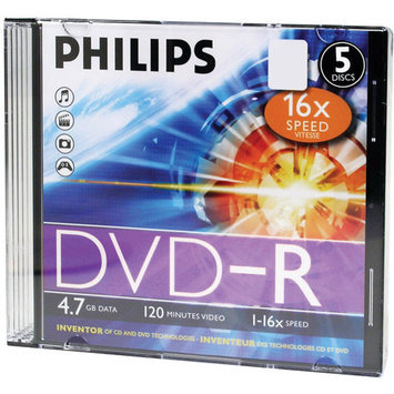 Philips Dm4s6s05f/17 4.7GB 16x Dvd-rs With Slim Jewel Cases 5 Pk