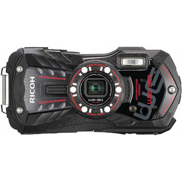Ricoh WG-30W Digital Camera, Waterproof to 39', Shockproof, 16MP Backlit CMOS, 5x Optical Zoom, Face Detection, 1080p Video, Carbon Gray