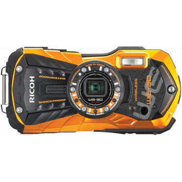 Ricoh WG-30W Digital Camera, Waterproof to 39', Shockproof, 16MP Backlit CMOS, 5x Optical Zoom, Face Detection, 1080p Video, Flame Orange