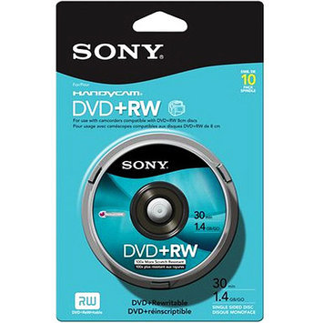 Sony DVD+RW Media - 1.4GB - 80mm Mini - 10 Pack Spindle