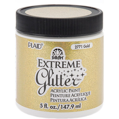 Plaid Folk Art Extreme Glitter Paint 5 Ounces-Black