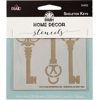 Plaid:craft FolkArt Home Decor Stencil 4inx4inSkeleton Keys