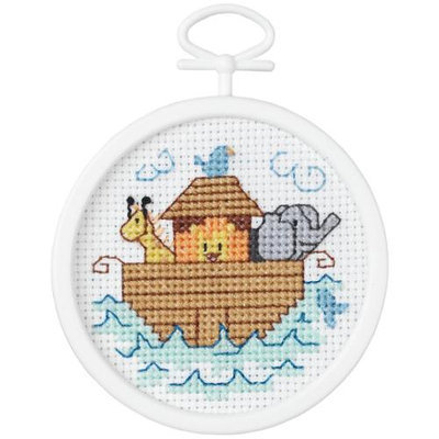 Janlynn 405810 Noahs Ark Mini Counted Cross Stitch Kit2.5 in. Round 18 Count Pack of 4