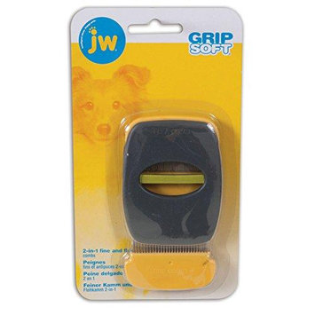 JW Grip Soft 2-In-1 Fine And Flea Combs