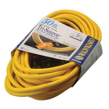 COLEMAN CABLE 50' 12/3 Yellow American Contractor Tri-Source Extension Cord