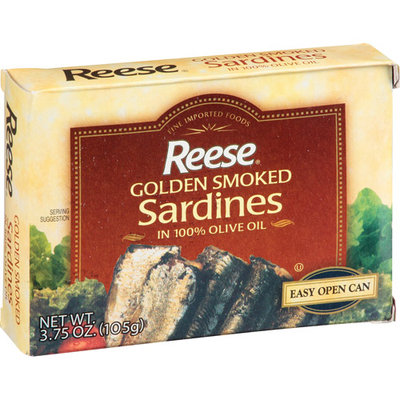 Reese Golden Smoked Sardines in 100% Pure Olive Oil, 3.75 oz, (Pack of 10)