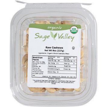 Sage Valley Organic Raw Cashews, 8 oz, (Pack of 6)
