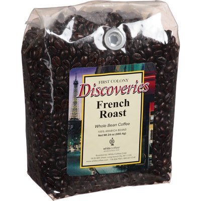 First Colony Coffee First Colony Discoveries French Roast Whole Bean Coffee, 24 oz, (Pack of 4)
