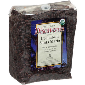 First Colony Coffee First Colony Discoveries Organic Colombian Santa Marta Whole Bean Coffee, 24 oz, (Pack of 4)