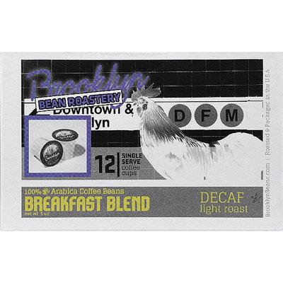 Brooklyn Bean Roastery Breakfast Blend Light Roast Single Serve Decaf Coffee, 12 count, 5 oz, (Pack of 6)